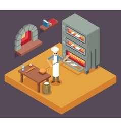 Cook baker cooking bread isometric icon on bakery vector image