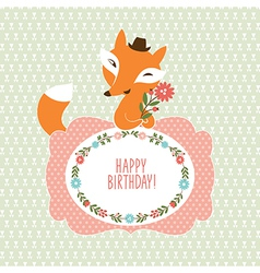 Cute fox Greeting card vector image vector image