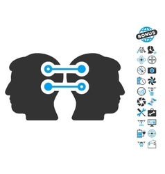 Dual heads interface connection icon with copter vector