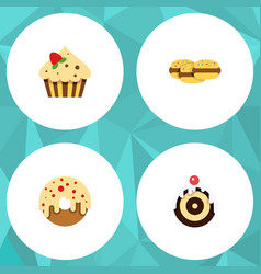Flat cake set of confectionery biscuit doughnut vector