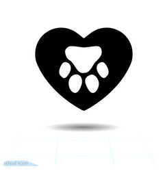 footprint of an paw dog or cat in heart the track vector image