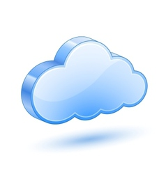 glossy blue cloud with shadow vector image vector image
