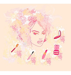 Make-up girl - poster vector image