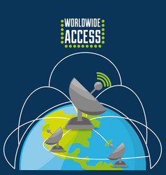 Satellite over world connectivity concept vector