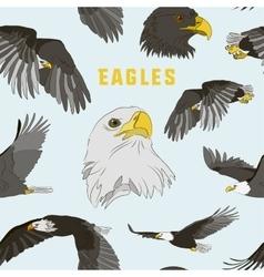 Set of eagles pattern vector image vector image