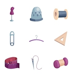 Sewing and knitting accessories icons set vector