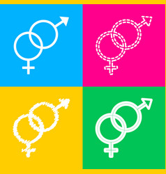 Sex symbol sign four styles of icon on four color vector