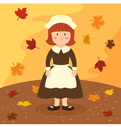 Thanksgiving girl cartoon vector