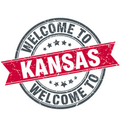 Welcome to kansas red round vintage stamp vector