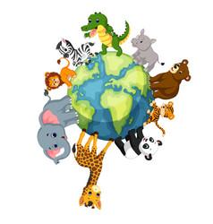 wild animal standing around the world vector image vector image