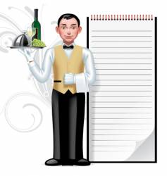 young waiter vector image
