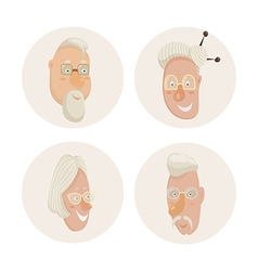 Old people faces set cartoon characters vector