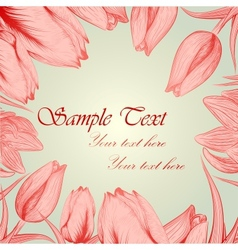 Retro floral background with handwritten tulips vector