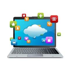 Laptop with blue screen cloud-computing connectio vector