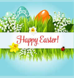 Easter egg in grass with flowers cartoon poster vector