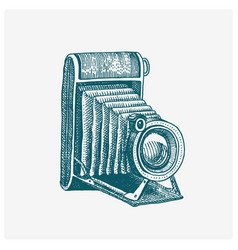 photo camera vintage engraved hand drawn in vector image