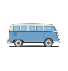 Retro camper blue bus for your design vector