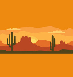 panorama mountains and sunset sky with cactus vector image