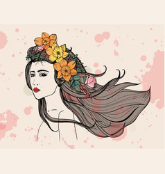 fashion woman portrait with watercolor stains vector image