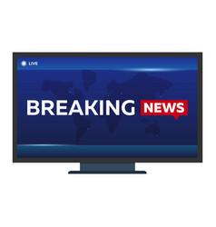 Mass media breaking news banner live tv show vector