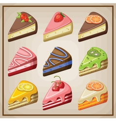 Set of cakes and cheesecakes vector