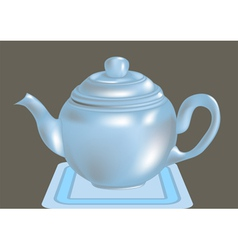 Blue teapot vector