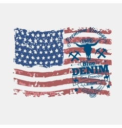 America flag vintage denim typography vector
