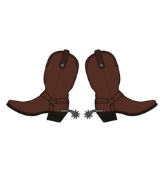 Wild west leather cowboy boots vector