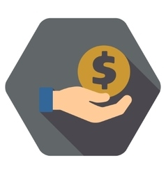Coin payment flat hexagon icon with long shadow vector