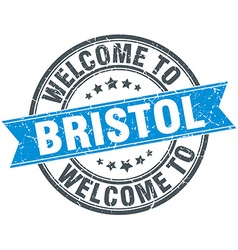 Welcome to bristol blue round vintage stamp vector