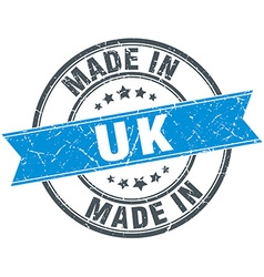 Made in uk blue round vintage stamp vector