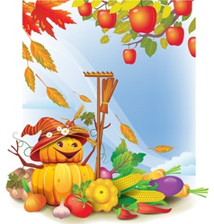 Background with autumn leaves and vegetable vector