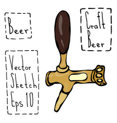 Beer tap doodle style sketch hand drawn vector