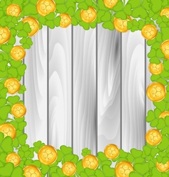 Border with shamrocks and golden coins for St vector image vector image