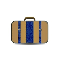 brown travel bag with big blue denim inset vector image