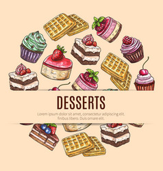 cake desserts poster for pastry shop design vector image