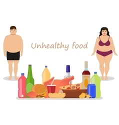 Cartoon female male obesity unhealthy food vector
