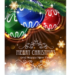 Christmas ornaments with sparkles and fir branches vector
