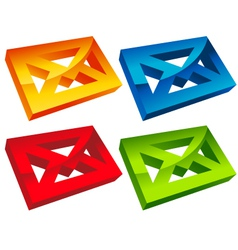 Colorful 3d envelope mail icons vector