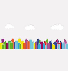colorful buildingclouds and city panorama vector image