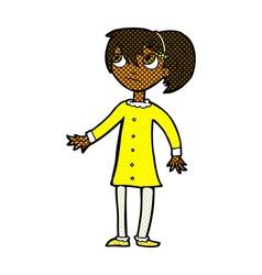 Comic cartoon worried girl vector