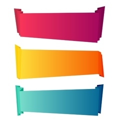 Curved color paper banners isolated on white vector
