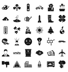 Disaster icons set simple style vector