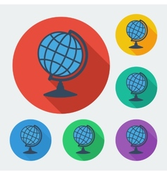 Flat style icon with long shadow six colors globe vector image