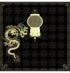 Golden chinese dragon on a black background vector