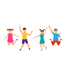 Happy cartoon cheerful young girls and boys vector