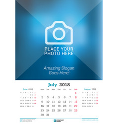 july 2018 wall monthly calendar for 2018 year vector image vector image