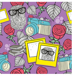Love story seamless pattern with smart owls and vector