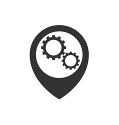 Map pointer with gears inside icon vector