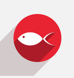 modern fish red circle icon vector image vector image